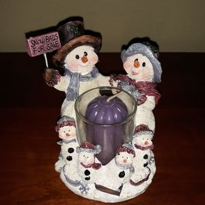 Home Interiors Snowman Family Votive Candle